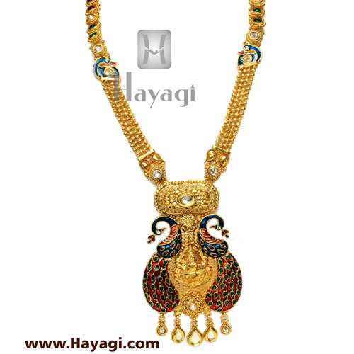 Peacock Laxmi Pendant Long Necklace Set, Bridal Jewellery-Hayagi - Beeline  - 2
