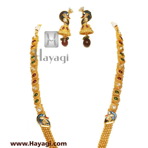 Peacock Laxmi Pendant Long Necklace Set, Bridal Jewellery-Hayagi - Beeline  - 3