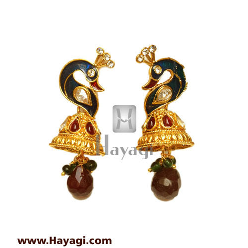Peacock Laxmi Pendant Long Necklace Set, Bridal Jewellery_Hayagi