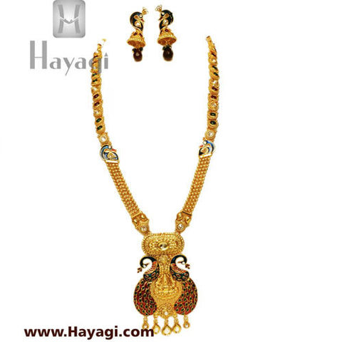 Peacock Laxmi Pendant Long Necklace Set, Bridal Jewellery-Hayagi