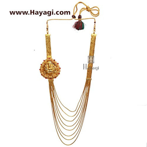 Necklace-1 Gram Gold Necklace, 8 strand chain Laxmi Pendant-Hayagi - Beeline  - 3