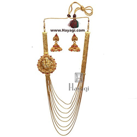 Necklace-1 Gram Gold Necklace, 8 strand chain Laxmi Pendant-Hayagi