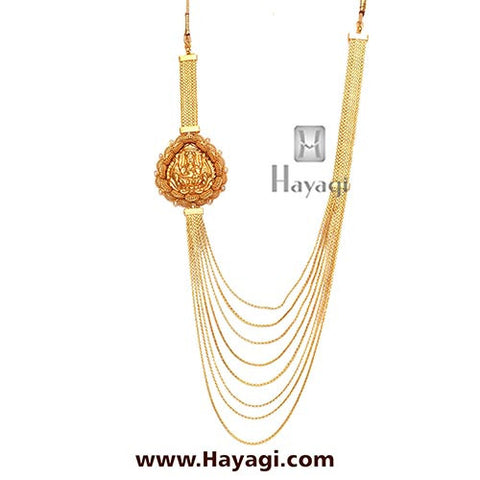 One Gram Gold Necklace 8 strand chain, Buy Laxmi Pendant-Hayagi - Beeline  - 3