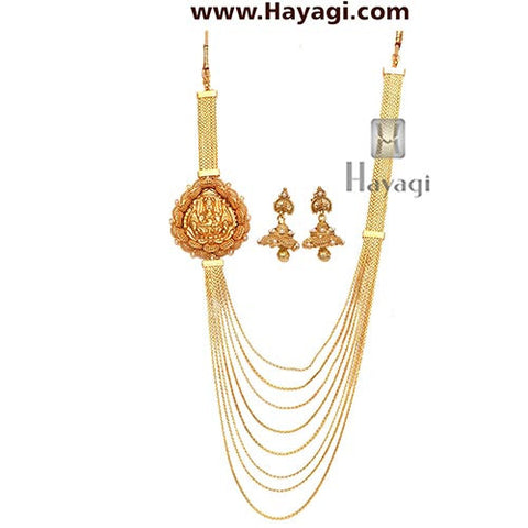 One Gram Gold Necklace 8 strand chain, Buy Laxmi Pendant-Hayagi