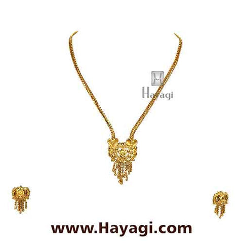 Gold Finish Necklace Set Unique Design - Hayagi