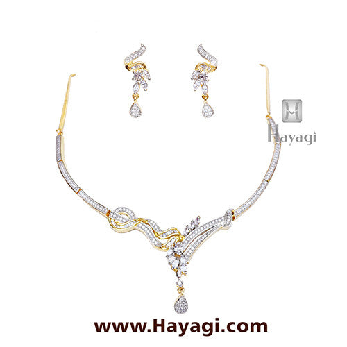 Necklace set Delicate AD Cz Stylish Design-Hayagi