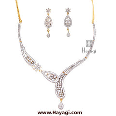 Necklace set American Diamond Cz Stylish Design-Hayagi