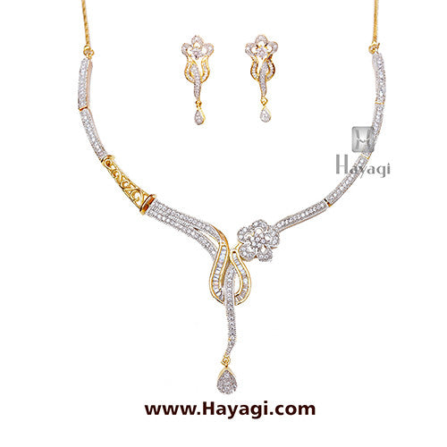 Necklace set AD Cz Flower Design-Hayagi