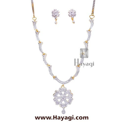 Cubic Zirconia & White Designer Flower Necklace set Online-Hayagi