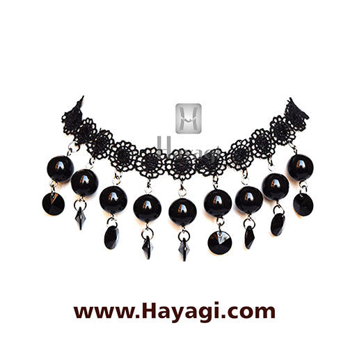 Fashion Jewellery Black Beads Fabric Choker_Hayagi