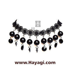 Fashion Jewellery Black Beads Fabric Choker - Hayagi