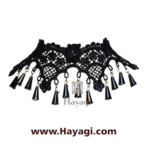 Lace Choker Necklace Black Beads Fabric Fashion Jewellery  - Hayagi