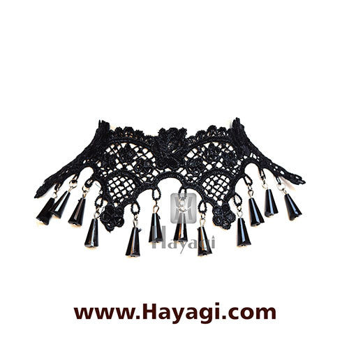 Lace Choker Necklace Black Beads Fabric Fashion Jewellery_Hayagi
