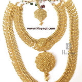 Bridal Necklace Short Long Combo in Antique Finish -Hayagi
