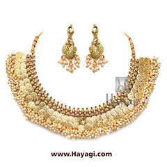 Laxmi Coin Short Necklace Temple Collection Online - Hayagi