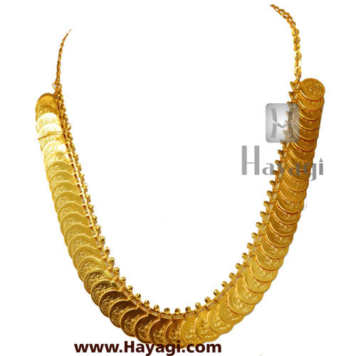 Putli Chapla Haar Short Lakshmi Coin Temple Necklace -Hayagi