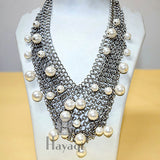 Antique Stainless Steel Silver Pearl Fashion ,Fashion Jewellery Buy Online-  Hayagi