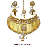 Bridal Choker Golden Finish AD Stones Necklace Set Online_ Hayagi