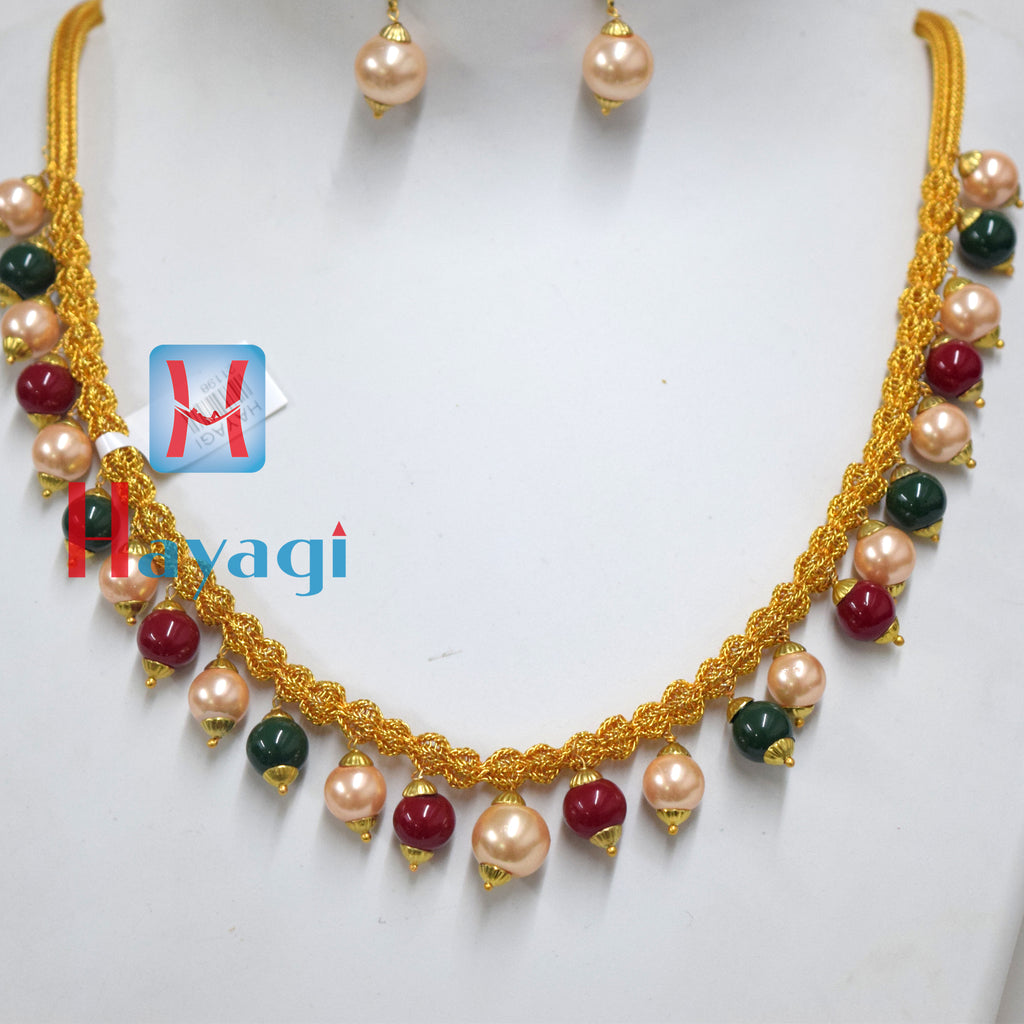 Multicolour Moti Pearl Thread Necklace Online_Hayagi(Pune)