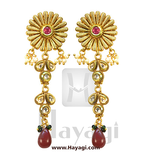 Bridal Choker Necklace Set Online, Kundan Stones_Hayagi