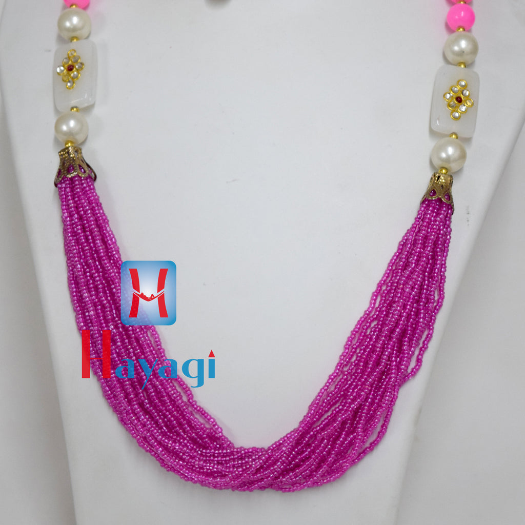 Purple Beads Moti Pearl Set Fashionable necklace Buy Online - Hayagi