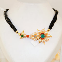 Manchali Mangalsutra Special Black Beads Pearl Nath Pendant Buy Online - Hayagi