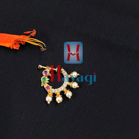 Nose Ring With Peacock Design (Non Pierced)_Hayagi Pune