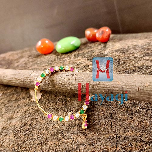 Nose Ring Multicolor AD Stones (Pierced)-Hayagi(Pune)