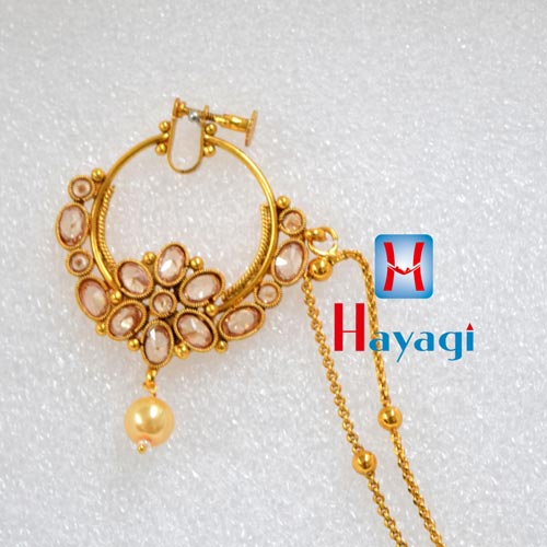 Rajasthani NoseRing(Non-Piercing)LCT Sones Oval Design_Hayagi(Pune)
