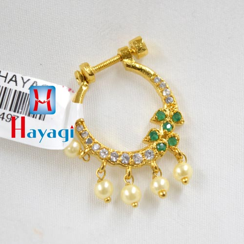 Nose Ring CZ Strone,Rajasthani Gold Finish (Non Pierced)_Hayagi(Pune)