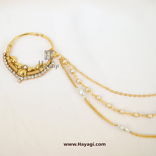 Rajasthani Nath,Pearl Nose Ring In Stones Buy Online -Hayagi
