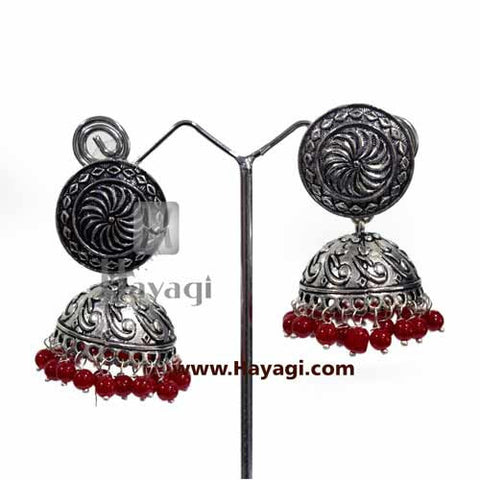German Silver Jhumkas Oxidized Earrings - Hayagi