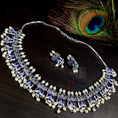 Trendy Silver Choker Necklace With Pearl Decorated _Hayagi(Pune)