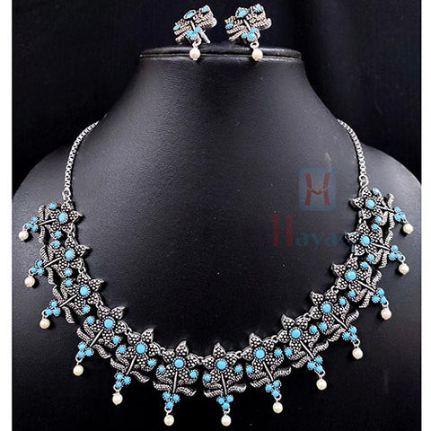 Turquoise Blue Antique Silver Necklace Flower Design _Hayagi(Pune)