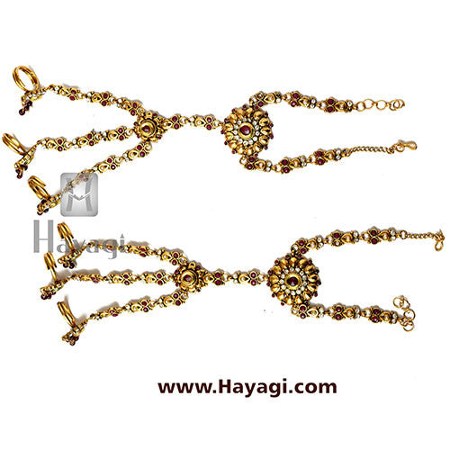 Pair of Hath Phool Panja Bracelet with Finger Ring - Hayagi
