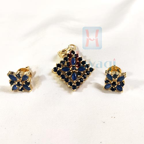Sqaure Pendant Set In Navy Blue Clr_Hayagi(Pune)