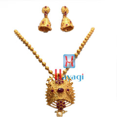 Temple Jewellery Red Stones 2 Flower Design ,Online - Hayagi