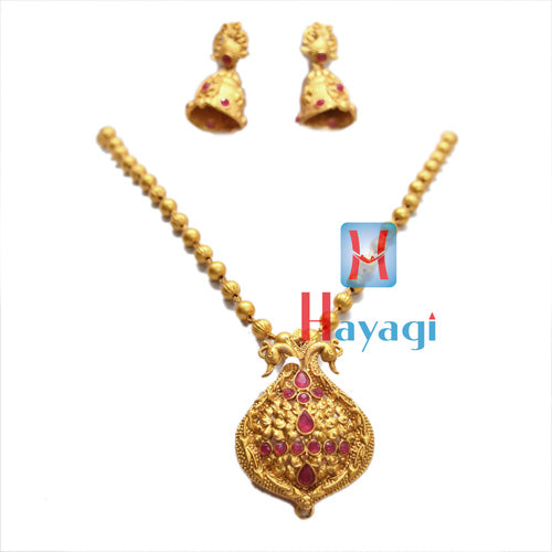 Temple Jewellery Red Stones,Both Side Peacock Design Online-Hayagi