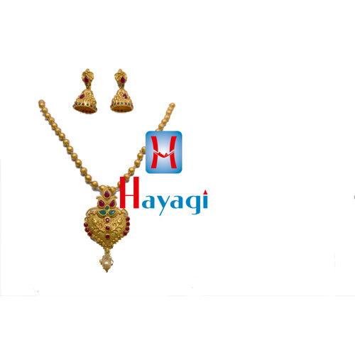 Temple Jewellery Multicolour Design Necklace, Online_Hayagi