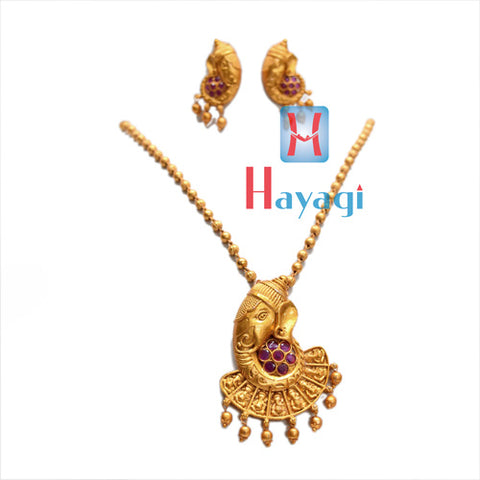 Temple Jewellery With Red Stones Ganesha Design Online-Hayagi