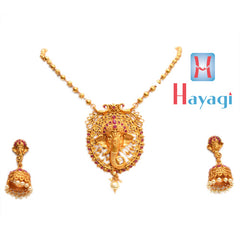 Temple Jewellery Red Stones Ganesha Design Necklace ,Online - Hayagi