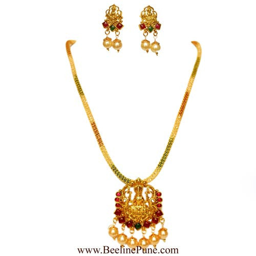 One Gram Gold Temple Laxmi Pendant Set Online India - Hayagi - Beeline  - 1