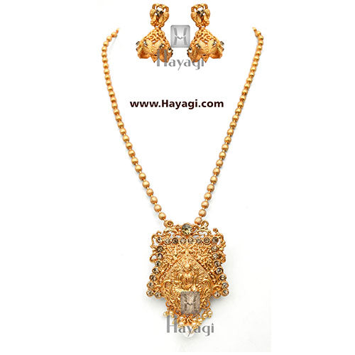 Pendant Set Gold Matte Plated Kemp With Crystals Online-Hayagi
