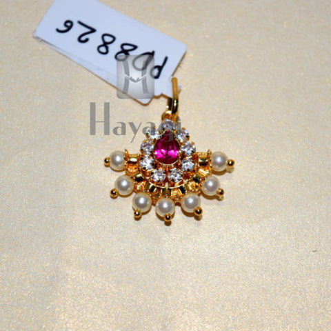 Traditional Golden Pink Stone Pearl Pendant Buy Online - Hayagi