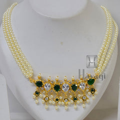 Tanmani Haar in 3 string with white & green stones Online India - Hayagi