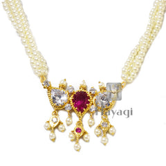 Tanmani Haar in 3 string with white & red stones Online India - Hayagi