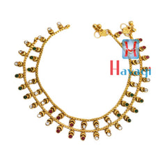 Multicolor Painjan, Stone Anklet, Payal Online Shopping-Hayagi