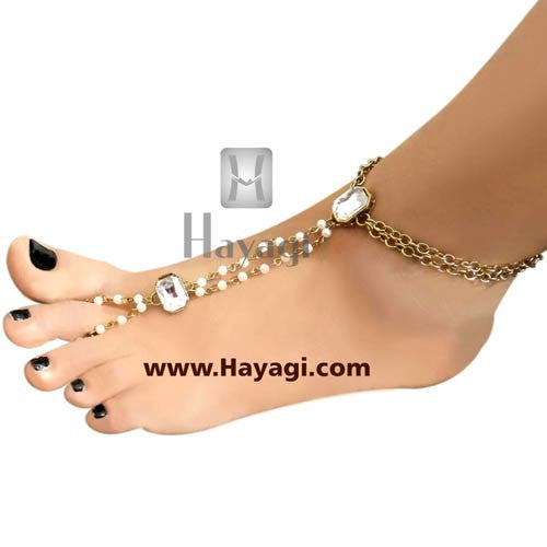 Kundan Foot Decor Accessories Anklets - Hayagi