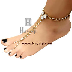 Kundan Pearl Foot Decor Accessories Anklets - Hayagi