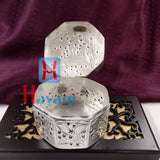 Jewelry Box or Pan Box Octagonal Shape Silver Finish _Hayagi(Pune)